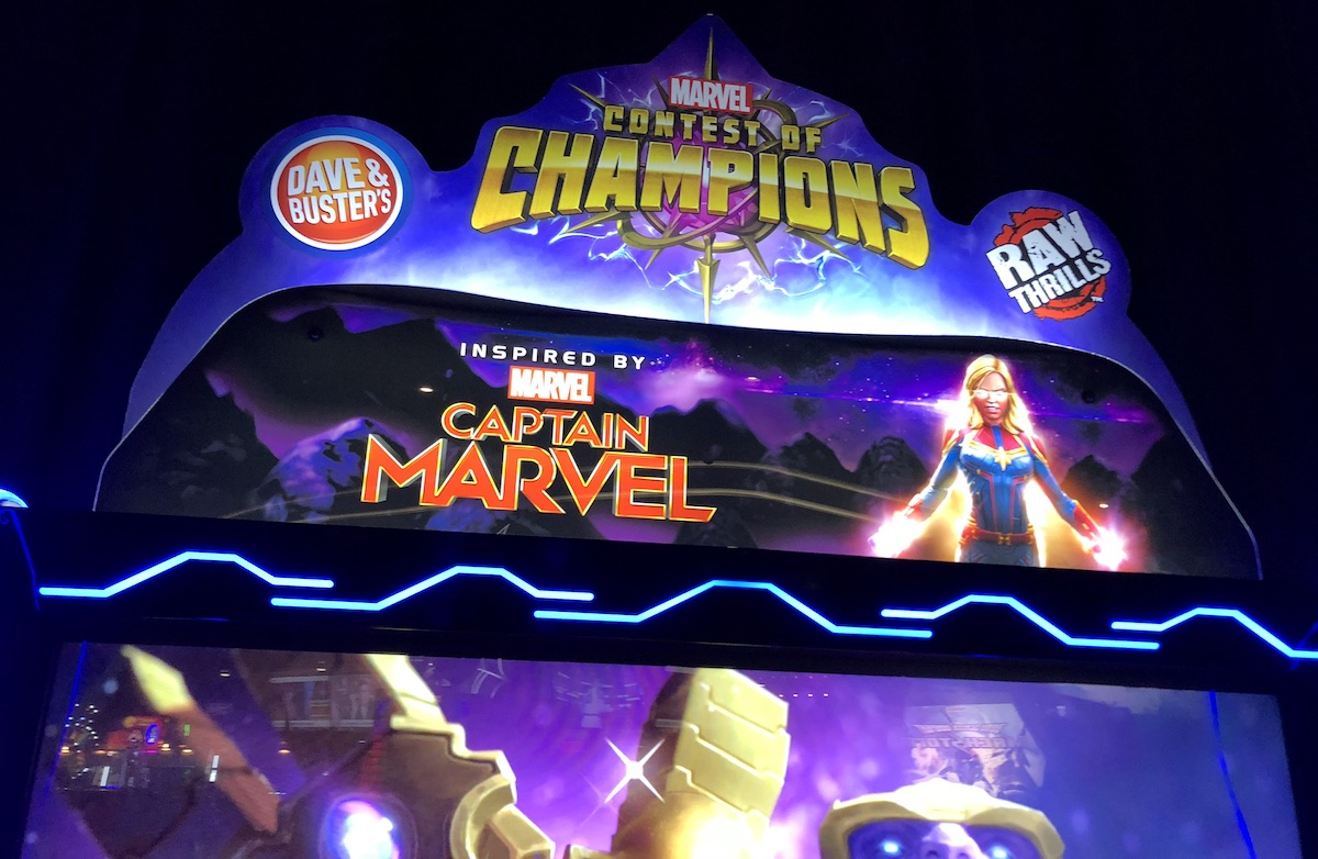Image of the top of the Marvel Contest of Champions Arcade cabinet at Dave and Busters